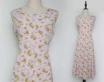 Pink Women Vintage Spring Summer Maxi Dress Red Rose Print Pleated Sleeveless 1980s