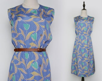 Blue Vintage Women Dress Floral Print 1980s Sleeveless Button Style Size M