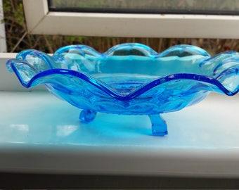 Beautiful blue vintage glass serving bold