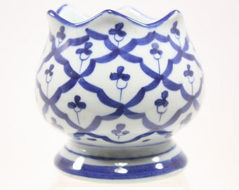 Vintage Blue & White Floral Small Ceramic Planter Pot Made in Thailand