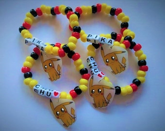 Pikachu Friendship Plastic Beaded Bracelets (Pair)