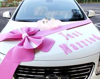 Kit de décorations voiture gros rubans rose de mariage arcs situé juste Married lettrage bannière décorations