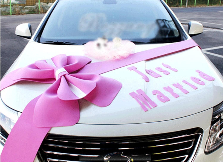 Wedding car Decorations kit Big Ribbons Pink bows set Just
