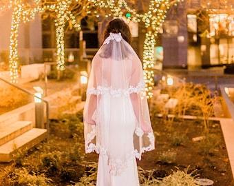 Fingertip Length Two-Tier Veil #82, Fingertip Length veil, Fingertip Veils, Wedding Veil with Blusher ,Bridal Lace Veil, Custom Wedding Veil