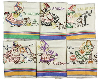 Vintage Days of the Week Towel Set, 6 Towels, Striped Towels, Embroidered Towels, Girl, Scottie Scotty Dog, Chores, Kitchen Dish Towel