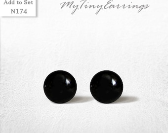 6mm Black Stud Earrings Mini Tiny Glossy - Men Jewelry Stainless Steel Gold Plated Posts plus High Quality Epoxy Resin - Simply Black  N174