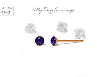 Dark Navy Blue 3mm Stud  Earrings Round Epoxy Resin Mini Gift for Her Gift for Him Gold Plated Stainless Steel Posts  N176-3
