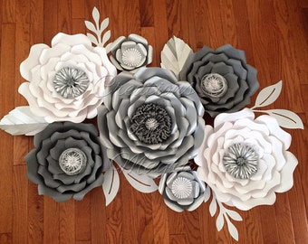7 piece baby shower paper flowers, customizable colors