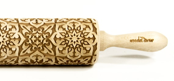 Alhambra 7, BIG Rolling Pin, Engraved Rolling, Rolling Pin, Embossed rolling pin, Wooden Rolling pin