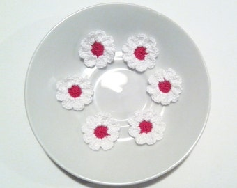 Crochet Red Flowers for applique / Set of  6 Pieces Crochet Red Flowers 9 petals / Crochet Scrapbooking/Crochet Applique Flower