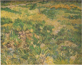 Vincent Van Gogh Vintage Original Art Print Post Impressionist Art Impressionism Long Grass with Butterflies Dutch Artist 1951