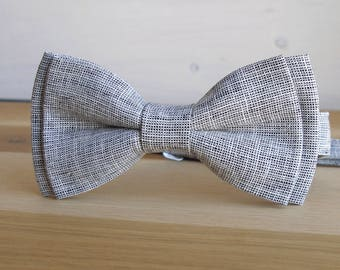 Husband Gift, Wedding Gift, Husband, Mens Gray Linen Bow Tie Bow Tie