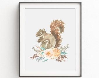 Woodland Nursery Squirrel 8x10 Print, Instant Download PRINTABLE Art, Forrest Animal Prints, Watercolor, Floral, Girl, Digital, 11x14, 5x7