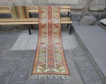 Runner rug, Vintage Turkish rug,Vintage Turkish Oushak rug, vintage hallway runner rug,kitchen rug,110 x 28 inches,muted color rug,hand made