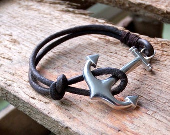 leather bracelet anchor, brown leather bracelet with silver anchor clasp