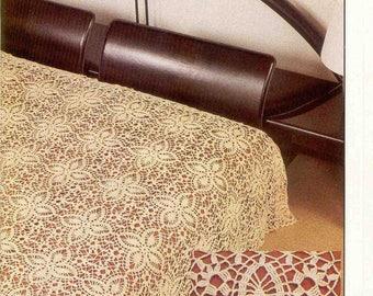 """Vintage crochet   bedspread UK pattern no50. in pdf, """"Four-Poster"""" Bedspread patten"""