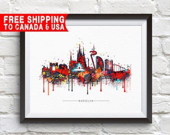 BARSELONA City Skyline, barselona, Map of barselona, barselona Print, barselona Poster, barselona Art, Home Decor, Gift Idea