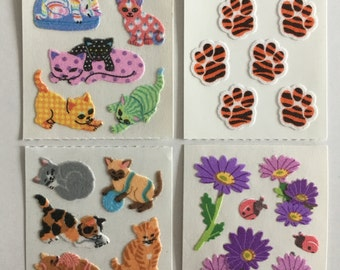 Vintage Set of Fuzzy Sandylion Stickers. 4 squares
