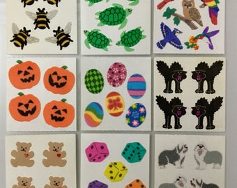 Vintage Rare Sandylion Sticker Lot. Fuzzy Dice, Turtles, Bees, Easter Eggs, Teddy Bears, Birds, Pumpkins