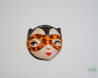Brooch/ magnet ,face brooch,CAT WOMAN ,funny& unique  gift, by atelierRJM