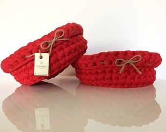Set di 2 cestini porta pane ROSSO | red crochet baskets | bread basket