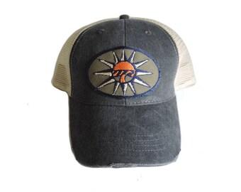 Sun Theme Baseball Cap- Faded Blue Aged Cap