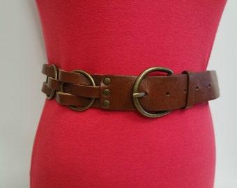 Vintage Brown Belt, Brown Waist  Belt,  Plait Belt, Unisex Belt