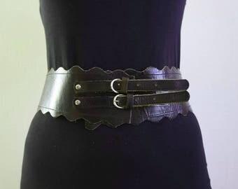 Vintage Women's  Black Leather, Black Corset Belt, Wide Belt, Waist Belt