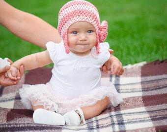 Handmade Crochet Striped Hat with Flower, infant hat, baby bonnet, crochet bonnet