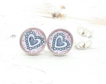 Sterling silver small 8mm heart ear studs  valentines gift anniversary gift