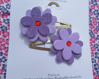Purple glitter flower hair clasps