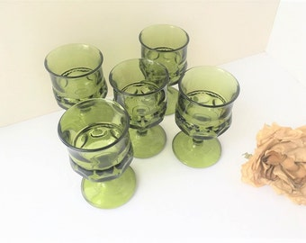 Set of 5 Crown Tiffin Avocado Green Goblets / Green Goblets / Avocado Glasses / Crown Glasses / Set of Glassware / King Crown Goblets