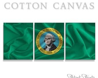 Washington State Seal and Flag Canvas Print, Canvas Wall Art, Canvas Print, State Wall Art, State Wall Decor, American Flag Wall Art