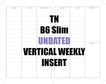 TN B6 SLIM Undated 3 month Insert: MO2P, Vertical WO2P with times, Habit Tracker and Notes page