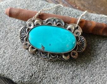 Mirror Lake - Kingman Turquoise and Sterling Silver handmade, artisan, silversmith necklace