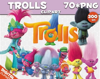 Trolls Clipart  70 PNG 300dpi Images Digital Clip Art Trolls Instant Download Graphics transparent background birthday