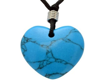 Heart Turquoise Howlite Gemstone Pendant Hand Carved Stone Necklace