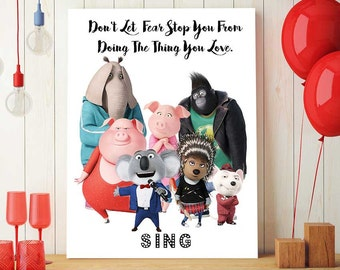 Sing Movie Birthday Party Printable, All Cast, Sing Decor For Kids Room, Sing The Movie Print, Nursery Decorations