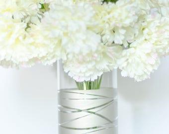 Nickel Vase, Nickel Dipped Striped Cylinder Vase