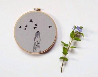 Then she Wanders, black-work embroidery hoop, nature, wall hanging, embroidery hoop, modern embroidery, fiber art, home decor, fine art, art