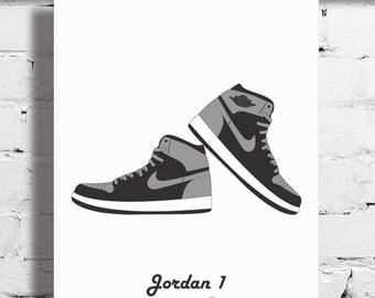 Nike Air Jordan 1 Shadow Poster – 1985 – Sneaker Poster – A4 - A3 – Digital – White – Art – Sneaker - Basketball - Potrait