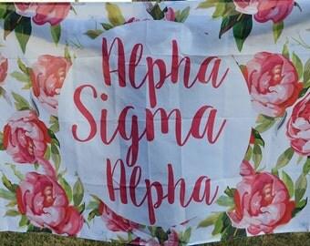 Alpha Sigma Alpha Sorority Floral Flag