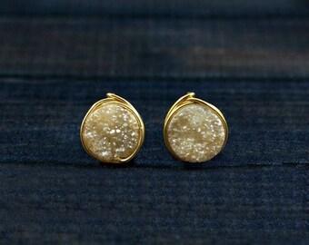 Druzy Earrings, Druzy Stud Earrings, 14k Gold Filled Stud Earrings, Druzy Post Earrings, 14k Rose Gold Stud Earrings, Gold Druzy Studs, Gift