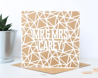 Geometric Mr & Mrs Wedding Card - Personalised Couple's Wedding Card, Anniversary Greetings Card, Paper Cut Name Card