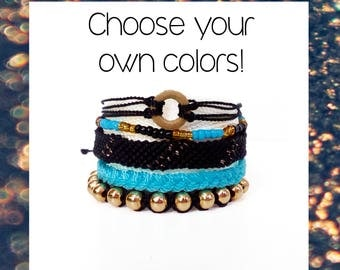Pura Vida Set 5 Woven friendship bracelet pack CHOOSE your OWN COLORS waterproof women macrame threads trends adjustable - Q'enqo Bracelets
