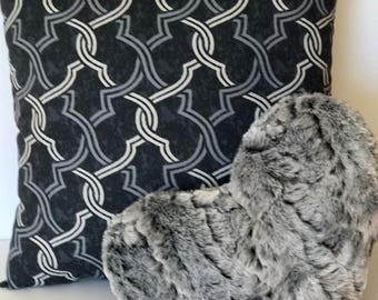 Decorative Pillow Set: Night Lattice 16x16 in pillow and Night Gray faux fur 11x13 in Heart