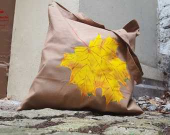 Autumn maple - hand painted tote bag