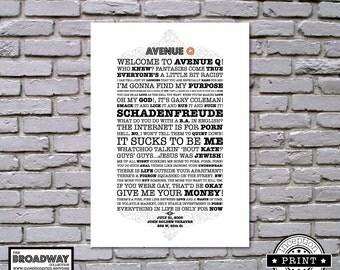 Avenue Q - Broadway Collection - DIGITAL FILES ONLY - Quotes - Lyrics - Typography Print - Custom Print