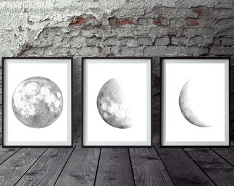 "Set of 3 Moon print, Moon phases print, Printable moon posters Minimalist Gray Black Moon Art Home Decor 8x10"" 11x14"" A4 A3"
