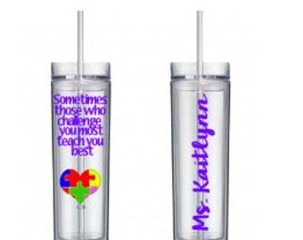 Autism Teacher Tumbler, Teacher Gift, Teacher Appreciation Gift, Personalized Teacher Gift, Gifts for Teachers, Gift, Teacher Cups, Teacher